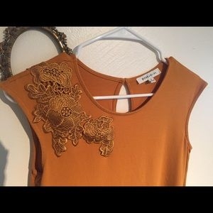 Rose and Olive mustard sleeveless top